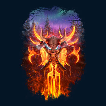 aurora borealis skull fire flames 3D digital design art flames viking helmet axe night sky pretty