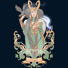 lady loki medusadollmaker character pop culture parody mashup thor tv illustration tshirt tee