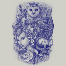 fables medusadollmaker one color illustration drawing sketch cool tshirt tee skull person owl blue detailed