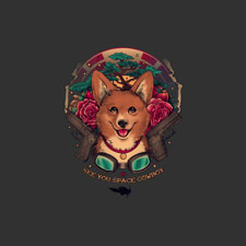 space cowboy megan lara corgi gun art nouveau digital art tshirt tee