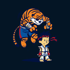 tiger calvin and hobbes karate cartoon character pop culture winter artwork tshirt tee cute
