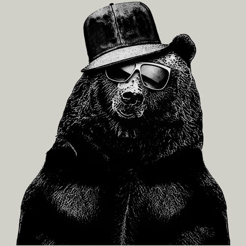 black bear RLMarkossa black and white bear photo real sunglasses retro tshirt tee