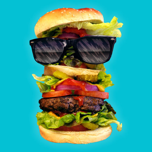 cool burger jublin photo real cheeseburger retro cool sunglasses tshirt tee