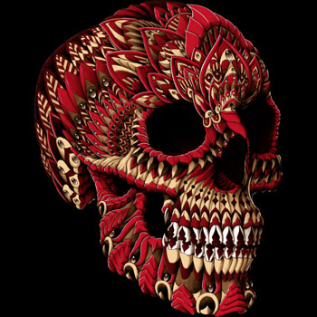 skull tee tshirt red pattern detailed illustation bioworkz