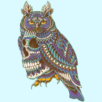 great horned owl tee pattern color tshirt tee skull tee bioworkz