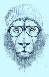 lion black and white one color pencil sketch drawing glasses beanie hipster tshirt tee