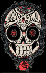 muerte acheca wotto skull skeleton cultural mexico day of the day dia de los muertes flower rose skull tshirt tee