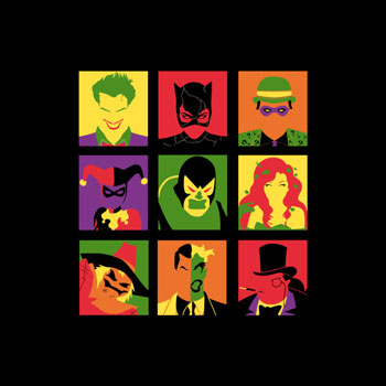 batman pop art andy warhol tshirt tee edwoody mr penguin two face scarecrow poison ivy joker harley quinn
