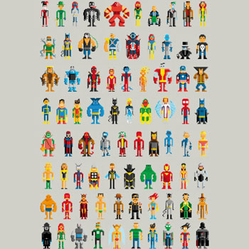 limited edition tshirt tee pixel heroes superheroes villains 8-bit 8bit design art gaming gamer nerd