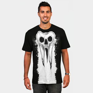 dead tooth design by humans shawncossart tooth black and white one color skull tshirt tee