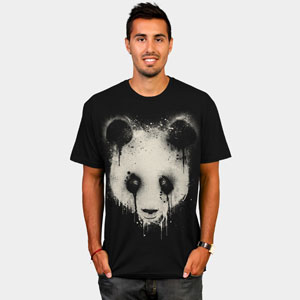 panda drip spray paint painted drip tee tshirt black and white tshirt tee design by humans