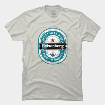 heineken, heisenbergen ledude heisenberg breaking bad walter white meth drugs tv show tshirt tee pop culture parody mashup