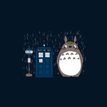 dr who doctor who allons-y totoro mikaelak t shirt tee pop culture parody mashup rain TARDIS space time travel