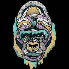 casiegraphics monkey gorilla ape drawing illustration pattern color tshirt tee