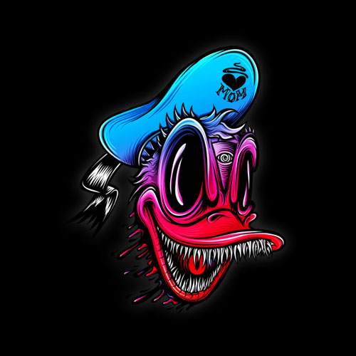 crazy wild neon gradient donald duck teeth horror scary tshirt tee pop culture parody disney