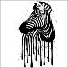 painted drip splatter paint black and white zebra animal tshirt tee abstract