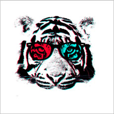 black and white tiger animal 3D glasses tshirt tee unique vector photo real