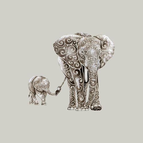 vectorink elephant animal pattern texture illustration watercolor