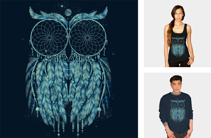 owl dream qetza dreamcatcher night stars sky owl animal native american tshirt tee