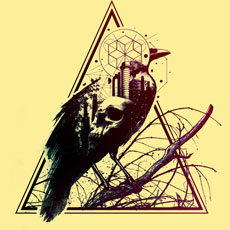 calling of death azrhon vector abstract photo real collage branch nature raven crown geometric triangle city cityscape skull
