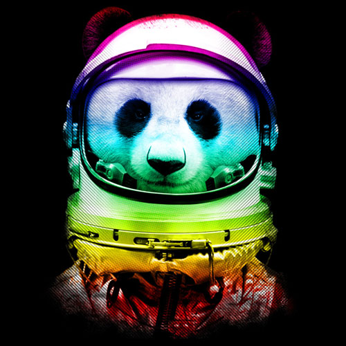 neon panda ingkong tshirt tee neon astrounaut space photo real collage funny