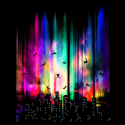 gravity moncheng neon city skyline aliens people surreal tshirt tee