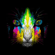 cat kitty kitten moncheng tshirt tee neon paint paint drips splatter