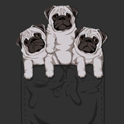dog puppies puppy pug pocket tshirt tee cartoon cute