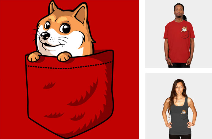 pocket doge tabners pocket tshirt tee meme internet funny cute