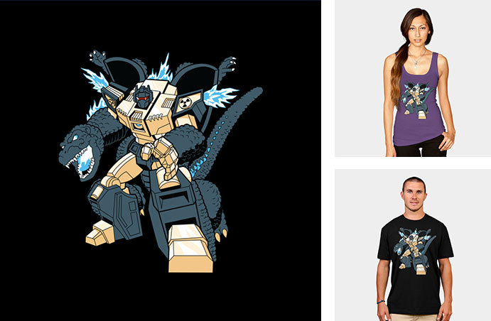 grimzilla transformers robot in disguise godzilla monster tokyo illustration tshirt tee tank top