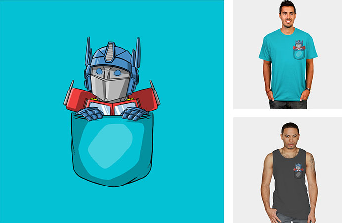 pocket tshirt pocket optimus prime cute adorable cartoon vector transformer pop culture parody mashup tshirt sweatshirt