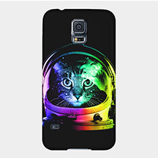 neon cat astronaut samsung galaxy phone case