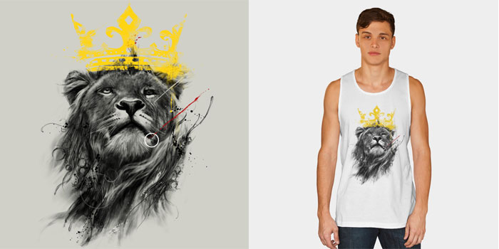no king kdeuce t shirt tee tank top crew crewneck sweatshirt lion painted paint splatter black and white animal king of the jungle