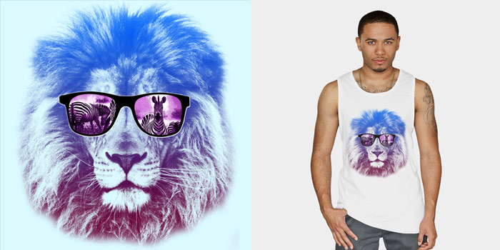 Summer Hunting 2 Lion Animal King Of The Jungle Gradient Sunglasses Color Neon Zebra Food Tshirt