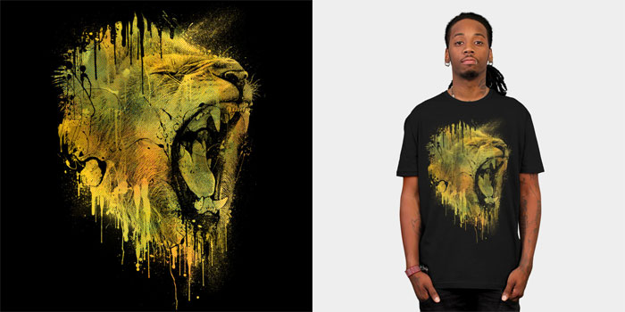 lion drip dzeri29 lion growl roar teeth halftone yellow neon painted paint drip splatter ubran art street art tshirt tee tank top crew crewneck sweatshirt
