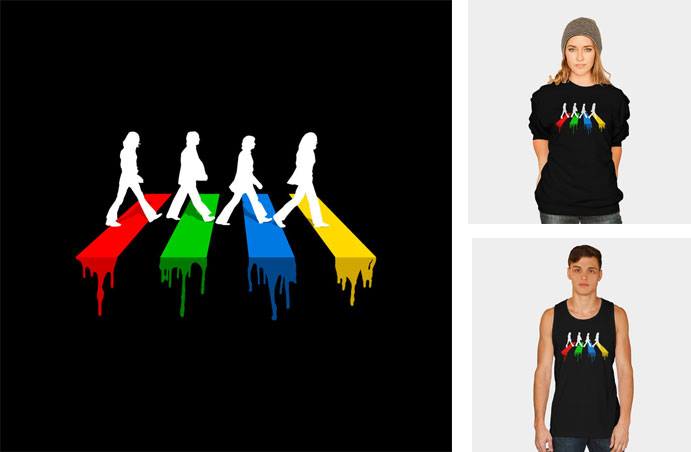 abbey road in colours london britain the beatles music iconic classic english vector rainbow vector tshirt tee tank tanktop crew crewneck sweatshirt phone case