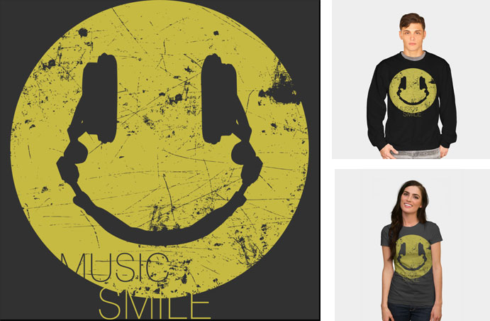 smile music headphones surreal typography grunge texture happy funny tshirt tank crew crewneck sweatshirt phone case iphone