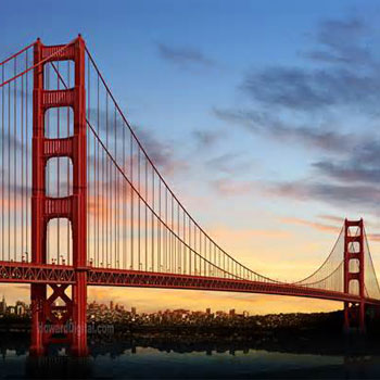 USA united states san francisco SF golden gate bridge ocean skyline sunset