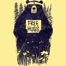 free hugs gloopz cartoon sketch bear forest trees sign flowers cool cute funny black and white tshirt tee tank top crewneck sweatshirt phone case