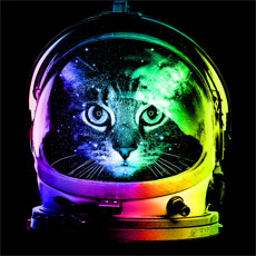 astronaut cat kitten kitty cat space stars moon rainbow neon tshirt tee tank top crewneck sweatshirt phone case