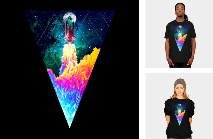 takeoff alchemist space gemoetric rocket flames fire explosion neon triangles galaxy stars moon triangle cool tshirt tee tank top crew crewneck sweatshirt phone case iphone