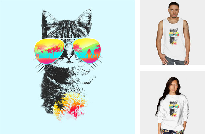cat breeze artemple kitten kitty cat neon summer palm trees sunglasses aviators palm trees beach ocean tshirt tee tank top crew crewneck sweatshirt