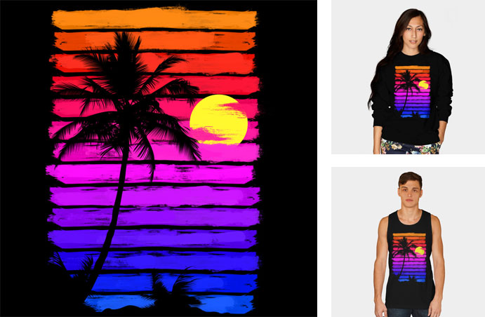 sunset ibhetdesign palm trees sun vector sunset painted brushstroke texture summer tshirt tee neon tank top crew crewneck sweatshirt phone case iphone