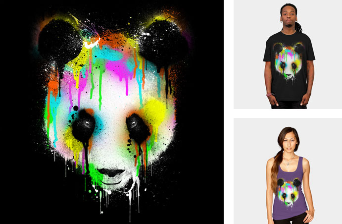 technicolour panda dzeri29 urban art street art spray paint painted spaltter drip rainbow neon eyes cool tshirt tee tank top sweatshirt crew crewneck phone case iphone
