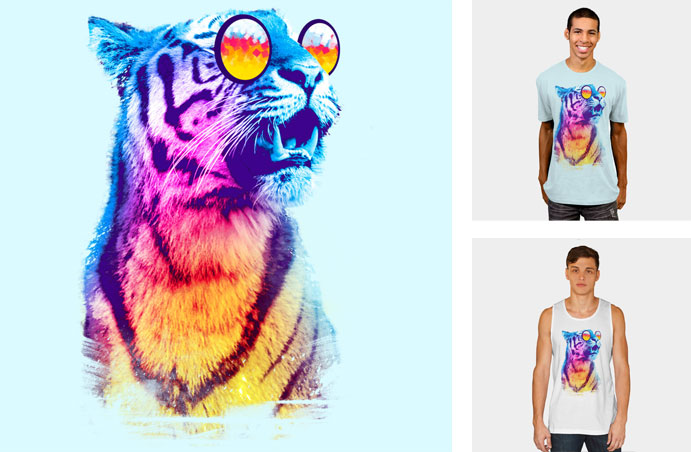 tiger breeze artemple tiger teeth stripes rainbow neon gradient sunglasses john lennon geometric 8 bit pixels summer tshirt tee funny crew crewneck sweatshirt tank top phone case