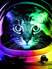 astronaut cat neon photo real helmet space relfection surreal stars moon cat kitty kitten tshirt tee tank top sweatshirt phone case