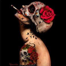 viva la muerte brian viveros woman beautiful beauty power cigarette smoking tattoo rose flower skull lips tshirt tee painting tank top sweatshirt phone case