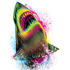 CMYK shark ocean water splash neon bright color tshirt tee tank top sweatshirt phone case