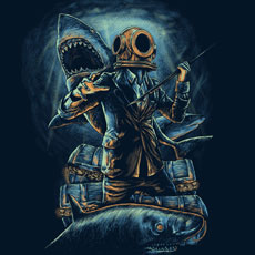 underwater business mafia diver spear person gold treasure shark ocean sea tshirt tee tank top sweatshirt phone case