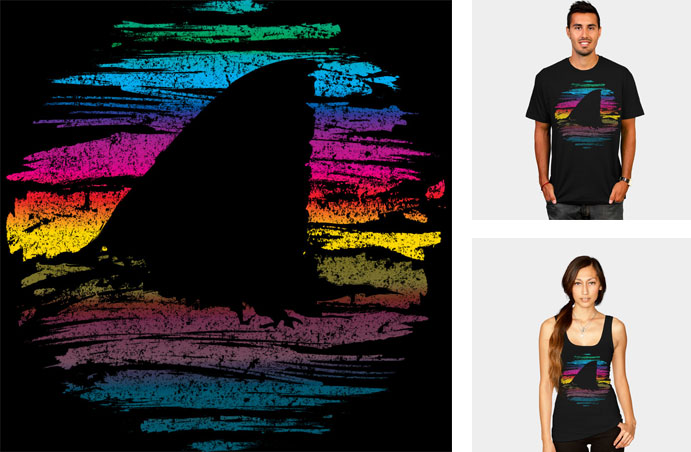 its shark week somewhere beanepod rainbow bright color shark fin dorsal painted brushstroke abstract shirt tee texture sweatshirt phone case